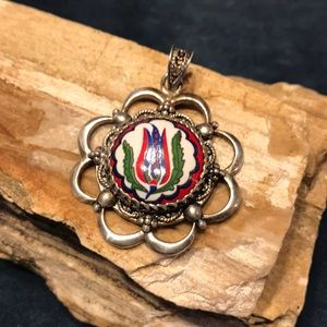 Jewelry - Vintage Hand painted Sterling silver Pendant